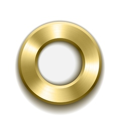 Gold donut button template with metal texture vector