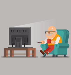 Grandfather old man watching tv sit armchair vector