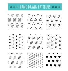 Hand drawn black and white pattern simple style vector