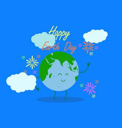happy earth day typography with vector image
