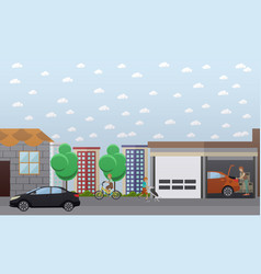 Home garage in flat style vector