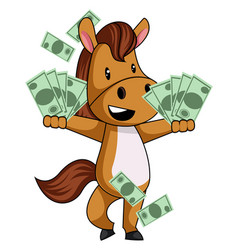 horse with money on white background vector image