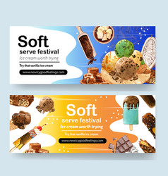Ice cream banner design with cocoa chocolate vector