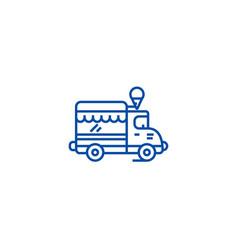 ice cream food truck line icon concept ice cream vector image