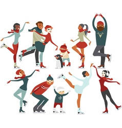 Ice rink people vector