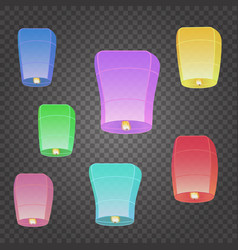 isolated chinese flying sky lanterns vector image