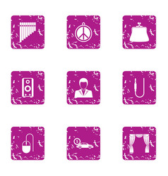 Ladies day icons set grunge style vector