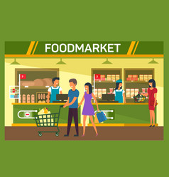 man and woman with cart at food supermarket mall vector image
