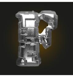 Metal figure f vector