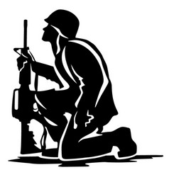 Military soldier kneeling silhouette vector