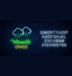 Neon sign raining clouds and plot grass vector