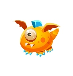 Orange Fantastic Friendly Pet Dragon With One Eye vector image