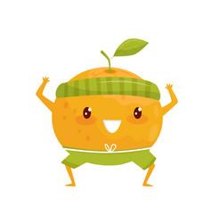orange fruit doing sports sportive fruit cartoon vector image