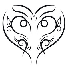 ornament heart hand drawn design on white vector image