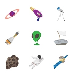 Outer space icons set cartoon style vector image