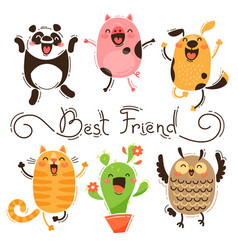 Panda pig dog cat and owl best friends vector