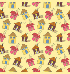 pattern seamless kids with home doodle coloring vector image