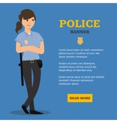 Police Woman Banner vector image