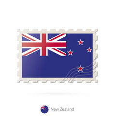 Postage stamp with image new zealand flag vector