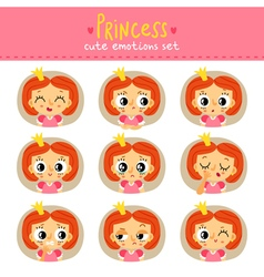 Princess little girl cute emotions set vector