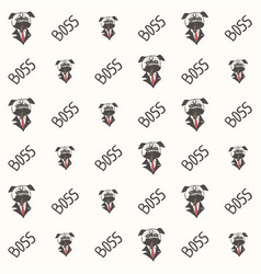 pug dog boss pattern vector image