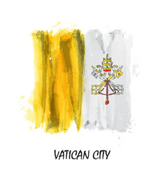 Realistic watercolor painting flag of vatican vector