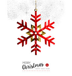 Red snowflake decoration for Christmas card vector