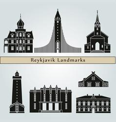 Reykjavik landmarks vector