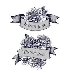 ribbon design of asters with thank you sing hand vector image