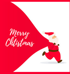 santa claus with big bag and merry christmas vector image