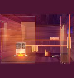 Sauna empty room with glass doors wooden bathhouse vector