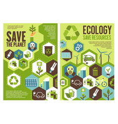 Save planet banner for ecology protection design vector