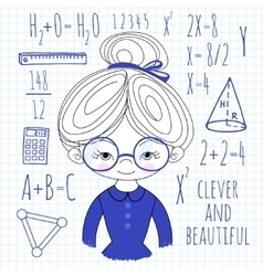 Schoolgirl spectacled on a plaid vector