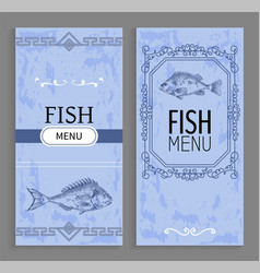 seafood menu with linear silhouettes of fish vector image