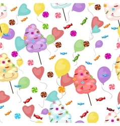 Seamless pattern of sweets cotton candy vector image