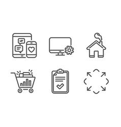 Seo shopping monitor settings and checklist icons vector