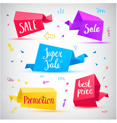 set 3d banners tags vector image