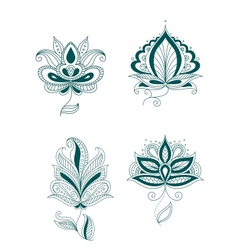 Set abstract persian or indian flowers vector