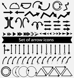 set arrow icons vector image