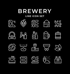Set line icons brewery vector