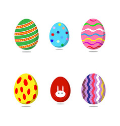 set of colorful easter eggs on white background vector image
