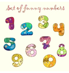 Set of colorful funny figures numbers vector image
