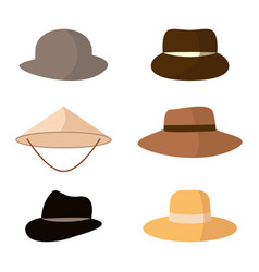 set of hats head accessories of different types vector image
