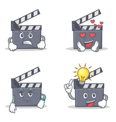 Set of movie clapper character with angry love vector