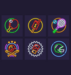 set of neon icons for sporting vector image