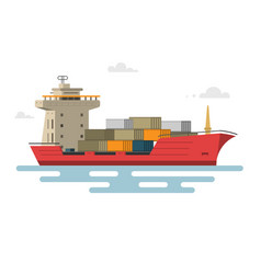 ship container in ocean transportation vector image
