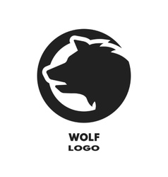 Silhouette of the wolf monochrome logo vector