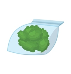 Small bag with buds of medical marijuana icon vector