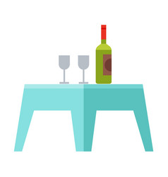 Small table with bottle wine and two glasses vector