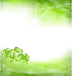 St Patrick Day green clover background vector image